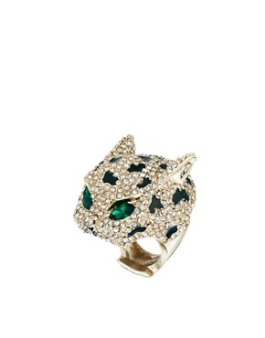 Image 1 ofRiver Island Mega Diamante Panther Ring