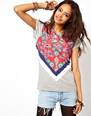 ASOS T-Shirt With Block Bandana Print