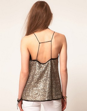 Image 2 ofZadig and Voltaire Sequin Top with Skinny Strap Detail