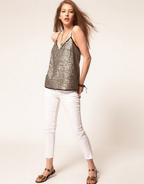 Image 4 ofZadig and Voltaire Sequin Top with Skinny Strap Detail