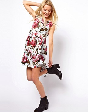 Image 4 ofASOS Smock Dress In Vintage Print
