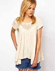 Free People Lace Panelled Swing Tee with Low Back