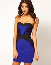 Little Mistress Lace Trim Bandeau Dress