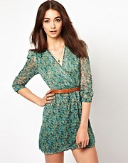 Jarlo Belted Floral Printed Wrap Dress