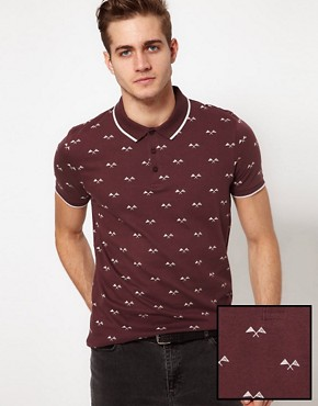 Image 1 ofASOS Polo With Flag Print