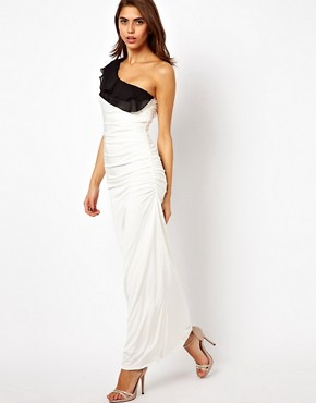 Image 1 ofLipsy One Shoulder Maxi Dress with Ruffle Detail