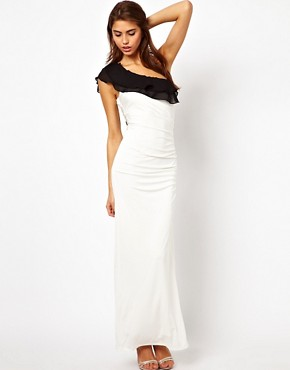 Image 4 ofLipsy One Shoulder Maxi Dress with Ruffle Detail