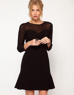 Image 1 ofOasis Sheer Sleeve Dress