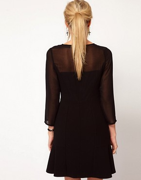 Image 2 ofOasis Sheer Sleeve Dress