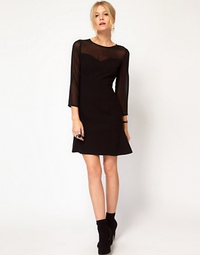Image 4 ofOasis Sheer Sleeve Dress