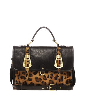 Image 1 ofASOS Leather Leopard Metal Buckle Satchel
