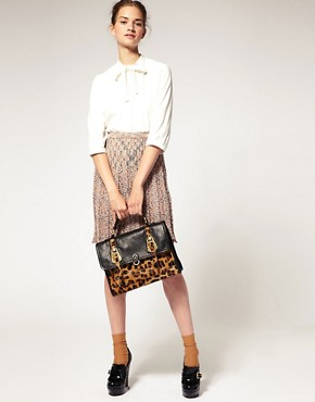 Image 3 ofASOS Leather Leopard Metal Buckle Satchel