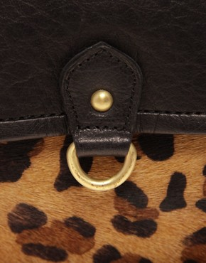 Image 4 ofASOS Leather Leopard Metal Buckle Satchel