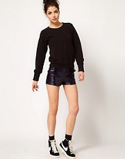 ASOS WHITE Cracked PU Shorts