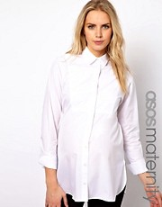 ASOS Maternity Boyfriend Shirt With Bib Detail And Side Split