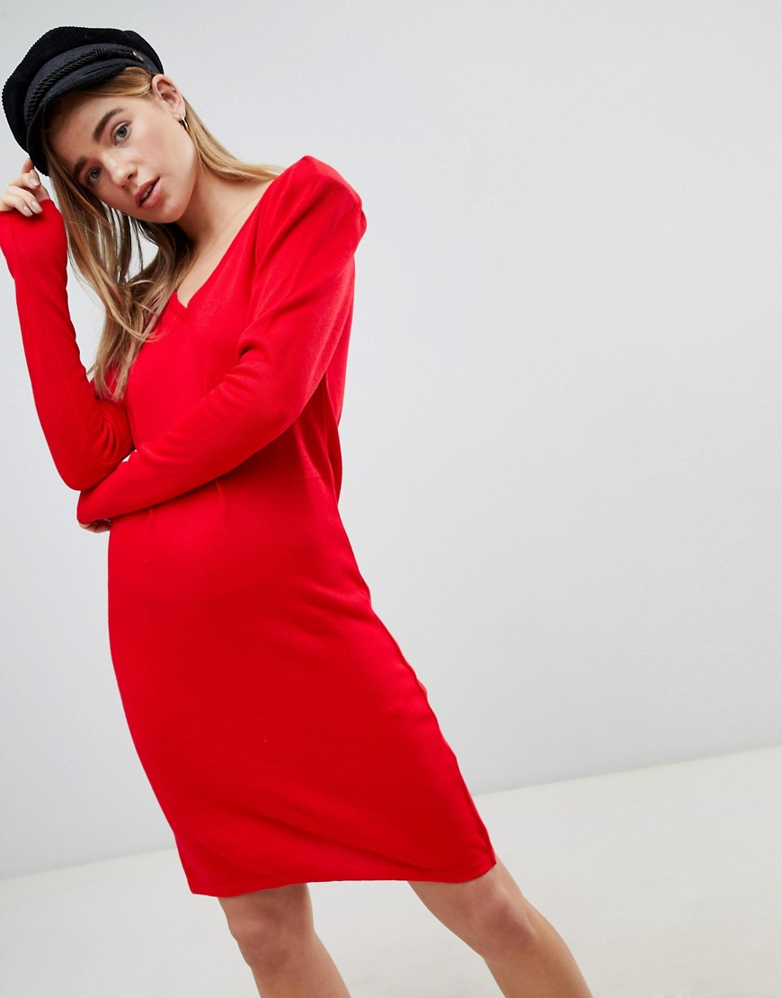 ASOS Dress With V Neck And Shoulder Pad - Red
