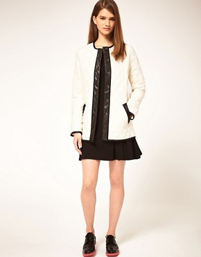 Image 4 ofASOS Collarless Quilted Jacket