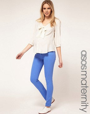 Image 1 of ASOS MATERNITY Skinny Jean in Cornflower Blue #4