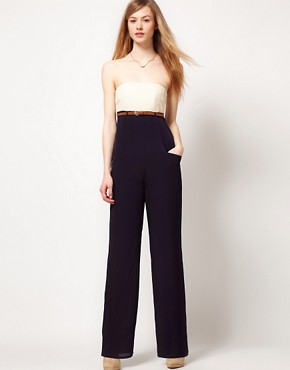 Image 1 ofTed Baker Jumpsuit With Contrast Bustier Detail