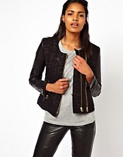 Unconditional Leather and Boucle Contrast Sleeve Jacket