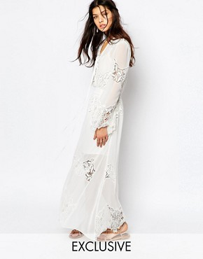 White Sand Excalibur All Over Chiffon And Lace Maxi Dress With Tie Front