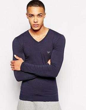 Emporio Armani V Neck Cotton Long Sleeve Top