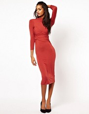 ASOS Midi Dress with Polo Neck And Twist Detail