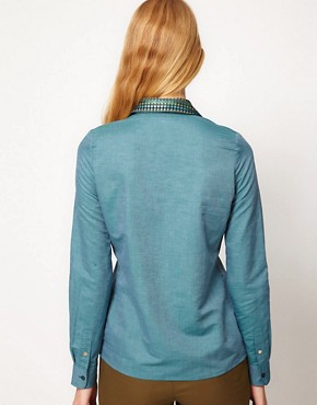 Image 2 of Sessun Chambray Shirt with Brocade Collar