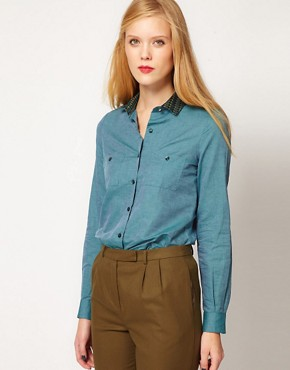 Image 1 of Sessun Chambray Shirt with Brocade Collar