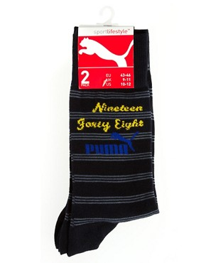 Image 3 ofPuma College Stripe 2 Pack Socks