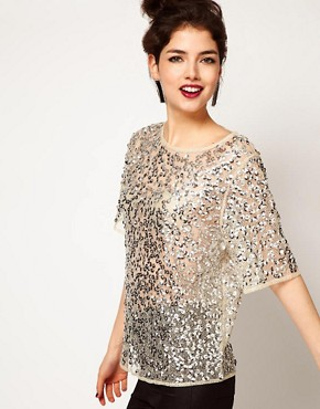 ASOS T-Shirt With Cobweb Lace And Allover Disc Embellishment