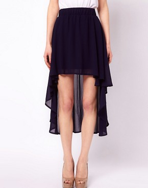 Image 4 ofClub L Dipped Hem Skirt