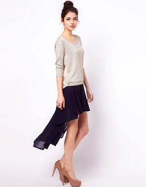 Image 1 ofClub L Dipped Hem Skirt