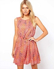 Oasis Peach Melba Skater Dress