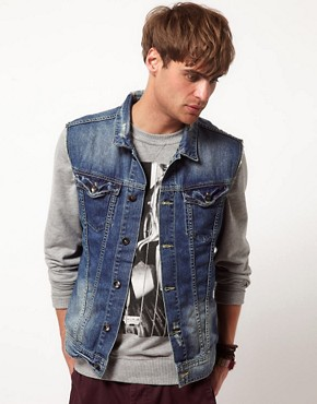Image 1 ofRiver Island Sleeveless Denim Jacket