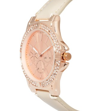 Image 3 ofASOS Rose Gold Watch with Nude Strap