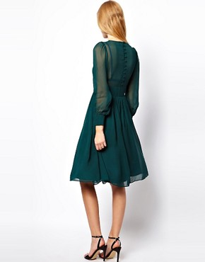 Image 2 ofASOS PETITE Midi Dress With Gathered Front