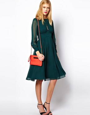 Image 4 ofASOS PETITE Midi Dress With Gathered Front