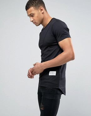 Religion Longline Muscle Fit T-Shirt with Curved Back Hem