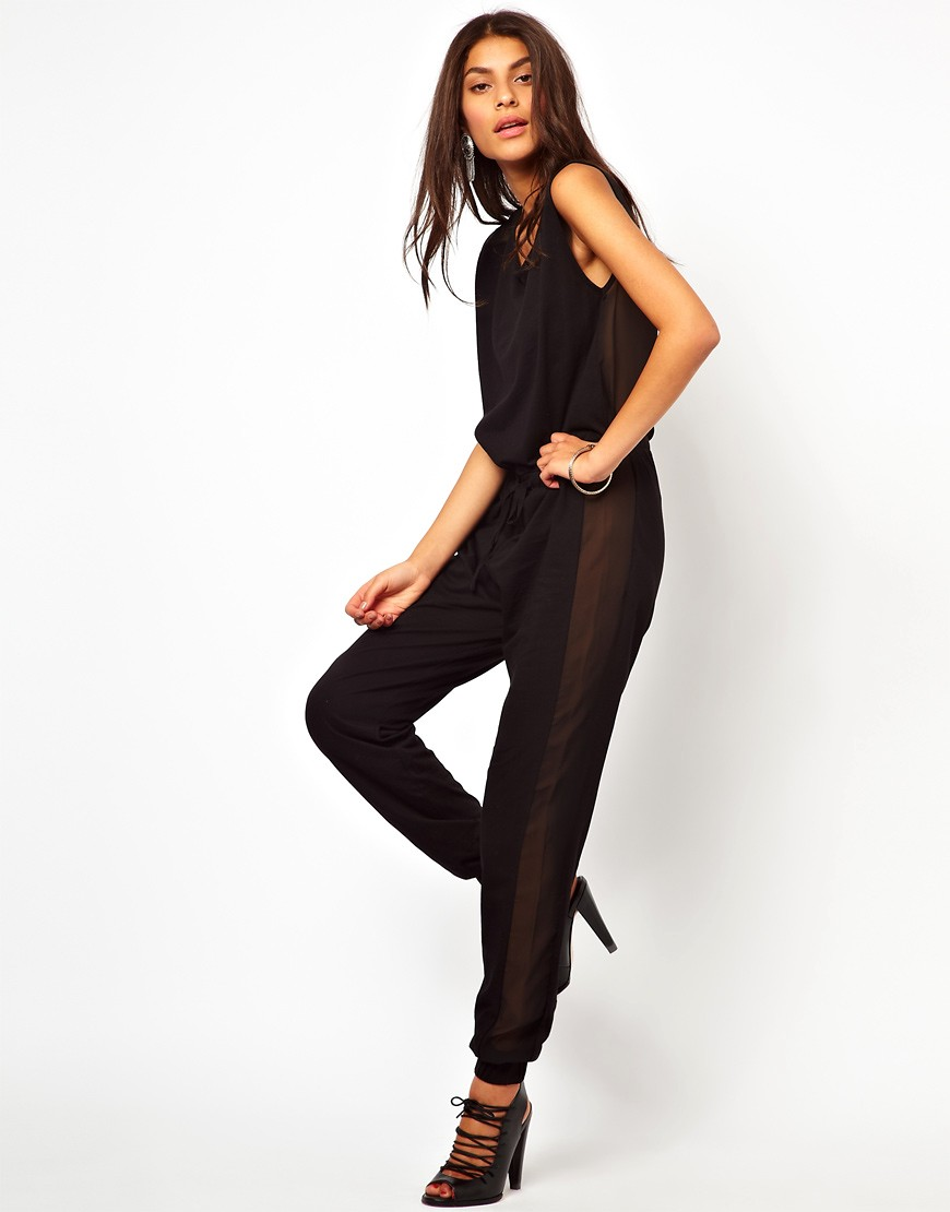 Image 1 of ASOS Jumpsuit With Sheer Back
