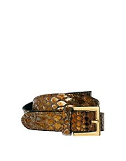 Black &amp; Brown Nadine Snake Print Skinny Leather Waist Belt