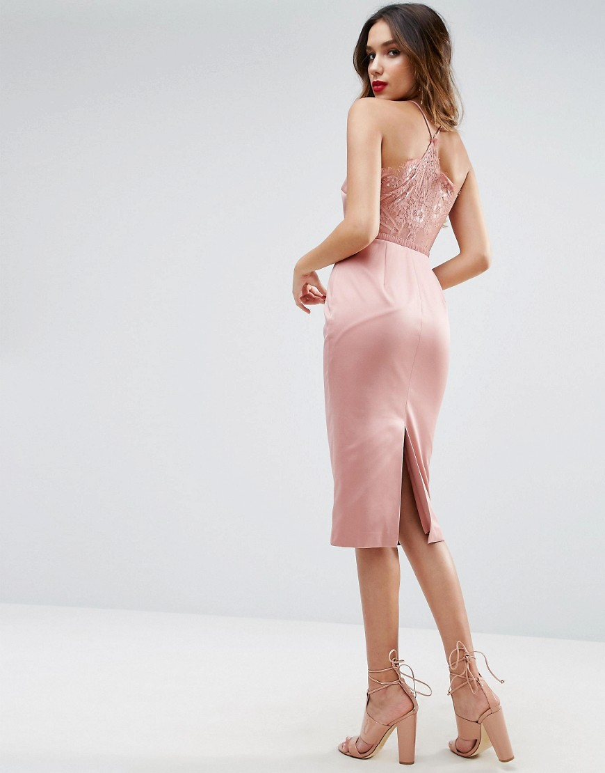 ASOS Lace Insert Cami Midi Pencil Dress - Pink