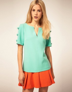 Image 1 ofASOS Shell Top With Bow Sleeve