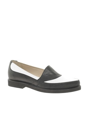 Image 1 ofT &amp; F Slack Shoemakers Black/ White Flat Point Shoes