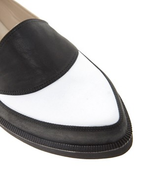 Image 2 ofT &amp; F Slack Shoemakers Black/ White Flat Point Shoes