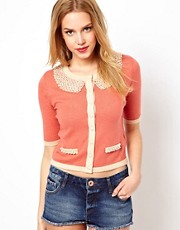 Darling Cardigan with Heavy Pearl Neckline