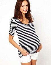 New Look Maternity Stripe Ruched Sleeve Top
