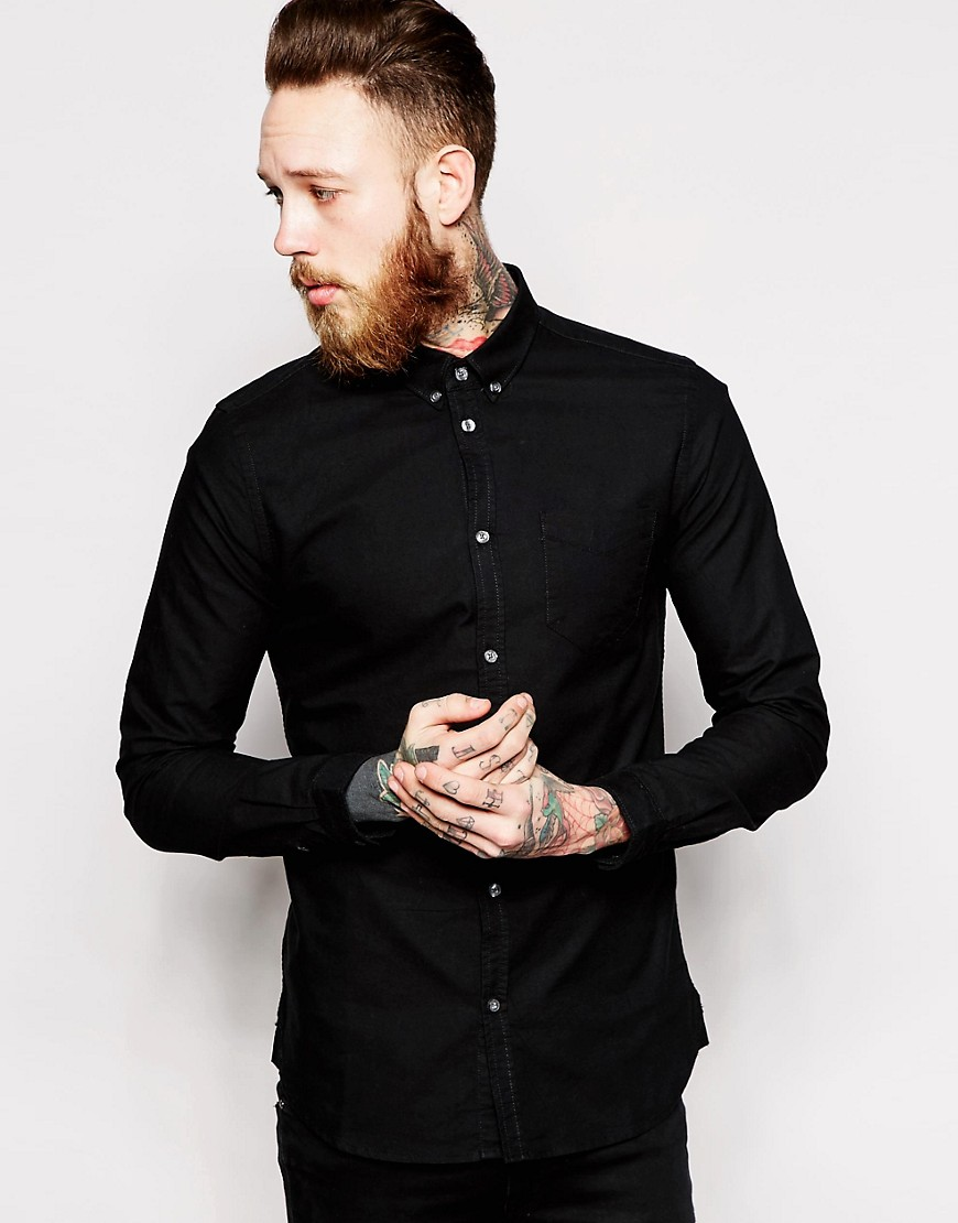 Dr Denim Pete Slim Fit Shirt Oxford - Black