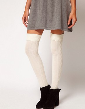 Image 1 ofASOS Wool Cable Over The Knee Sock