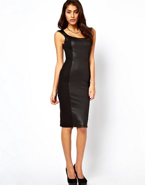 Image 1 of ASOS Bodycon Dress With High Shine Panels